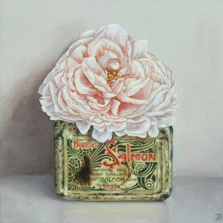 """Salmon Pastilles, Rose"" Oil on canvas 20 x 20 cm"
