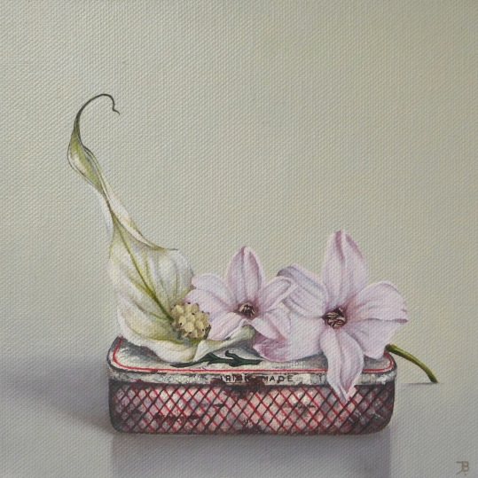 """Peace lily, Hyacinths"" Oil on canvas 20 x 20 cm"