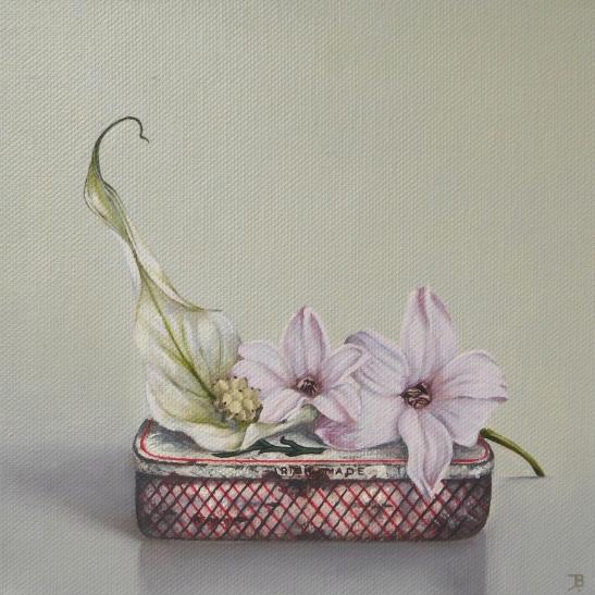 """""""Peace lily, Hyacinths"""" Oil on canvas 20 x 20 cm"""