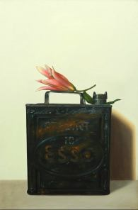 """Lily with ESSO Can"" Oil on canvas 120 x 80 cm"