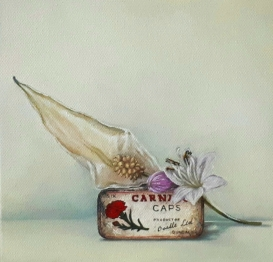 """Carnation Tin with Flowers"" Oil on canvas 20 x 20 cm"