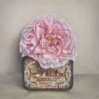 """Adrian & Co. Tin, Pink Rose"" Oil on canvas 20 x 20 cm"