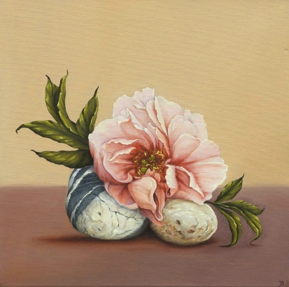 """Peony, Two Stones"" Oil on canvas 40 x 40 cm"