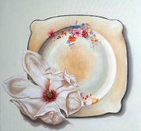 """Magnolia, Old Plate"" Oil on canvas 50 x 50 cm"